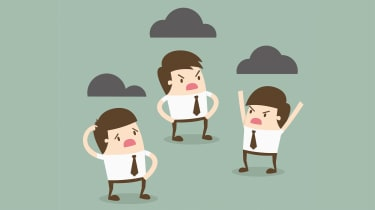 An illustration of three workers arguing under dark clouds