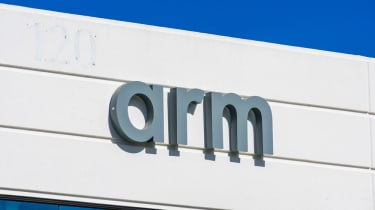 The logo for technology firm Arm printed on a building