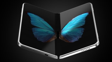 A concept image of a folding phone with a picture of a butterfly's wings spread across the two halves of the screen