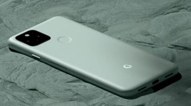 The Google Pixel 5 in white