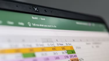 The Microsoft Excel software as shown on a laptop display
