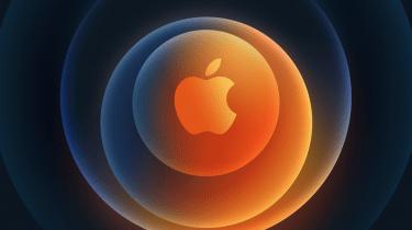 Apple's iPhone 12 teaser shows an orange Apple logo on a blue circular background