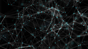 Abstract image of a network of interconnected points on a black background