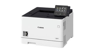 The Canon i-Sensys LBP664Cx in front of a white background