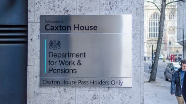 The sign of the Department for Work and Pensions (DWP) as seen on its building