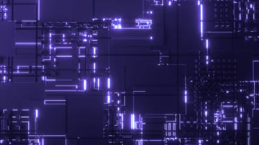 Purple abstract quantum computing concept image