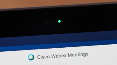 The Cisco Webex as seen on a computer display with the webcam light activated