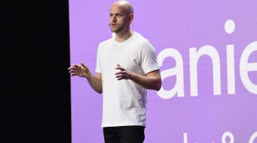 Spotify CEO Daniel Ek speaking at the company's Investor Day in 2018