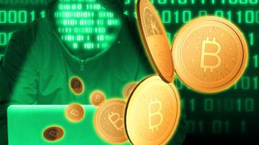 Hacker in green extorting Bitcoin
