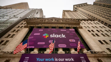 Slack announcing its public offering in New York
