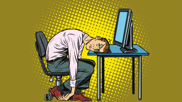 A cartoon of a man in business wear collapsed at his desk from fatigue