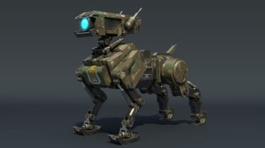 A 3D rendering of a military robot dog