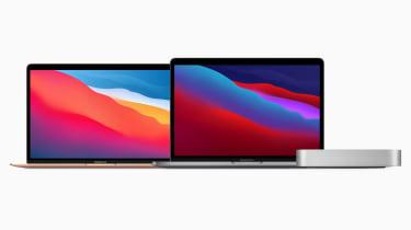 MacBook Air, MacBook Pro, and Mac Mini on white background