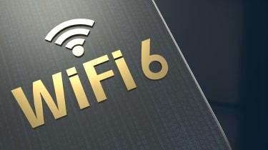 Visual representation of the Wi-Fi 6 technology as a metallic logo