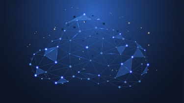 An illustration in blue of a cloud network made of lines and nodes