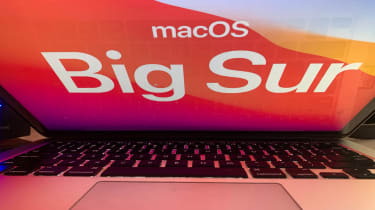 Apple's new operating system Big Sur logo displayed on a MacBook screen