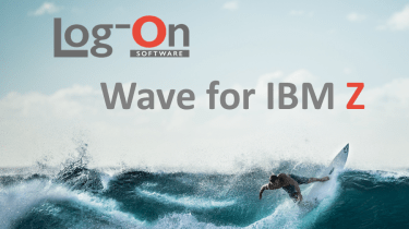 """surfer riding a wave with """"log-on wave for IBM Z"""" superimposed"""