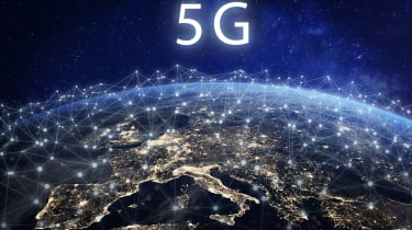 European continent seen from space with a symbolic net of 5G network connections