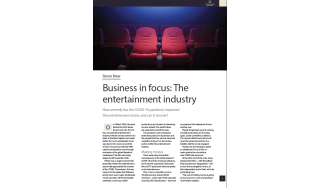 Business in focus: The entertainment industry - cover image of red cinema chairs