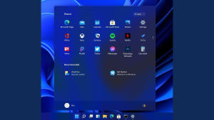 The new Start menu on Windows 11 in action