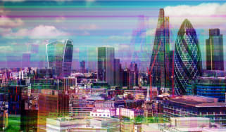 Abstract image showing London's city skyline with a glitch effect
