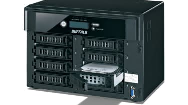 As its name suggests, the TeraStation Pro 8 Bay has eight easily accessible disk trays.