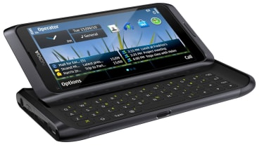 The Nokia E7's screen slides up to reveal the keyboard
