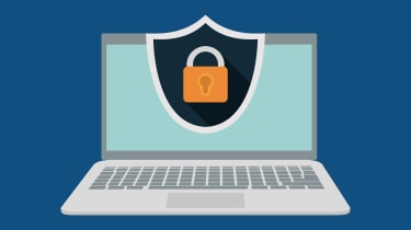 Graphic of a secure laptop