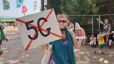 Anti-5G Protester at Glastonbury Festival