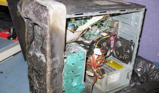 A fire damaged server from the University of Southampton