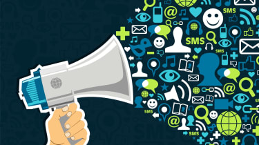 Megaphone with social network logos
