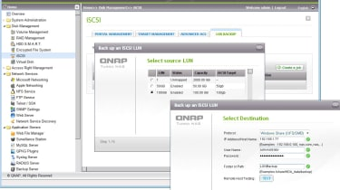 Along with iSCSI thin provisioning, QNap has added a useful facility for backing up selected LUNs to a remote location.
