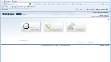 The main web interface provides quick access to filtering setup, appliance configuration and report creation.