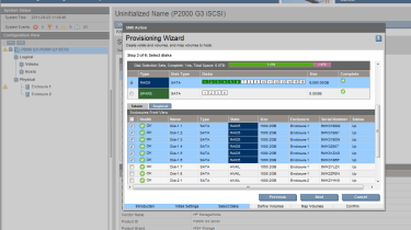 A provisioning wizard helps with vdisk creation and can also spilt a vdisk into equally sized volumes if you want.