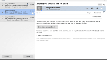 The GMail app in Android 3.0 Honeycomb