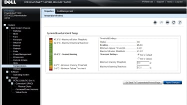 Dell's OpenManage Server Administrator provides web-based remote server monitoring which includes graphical temperature chart