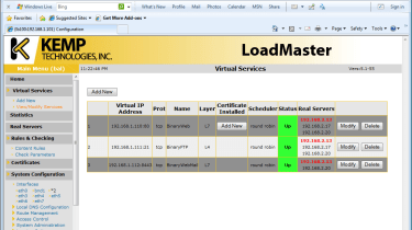 Virtual servers comprise multiple real servers and you can see at a glance what their status is.