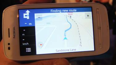 The Nokia Drive Windows Phone 7 app on the Nokia Lumia 710.