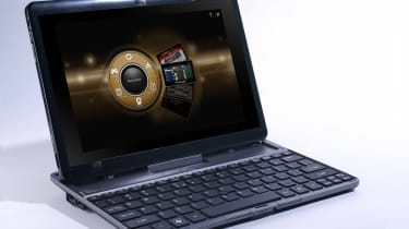 The Acer Iconia Tab W500 docked with its optional USB keyboard