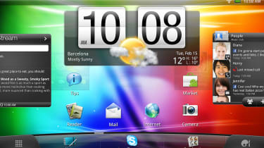 The HTC Flyer's homescreen oriented horizontally
