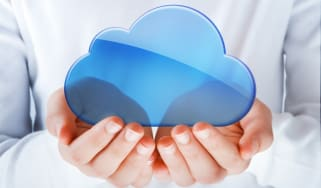 Hands holding cloud image