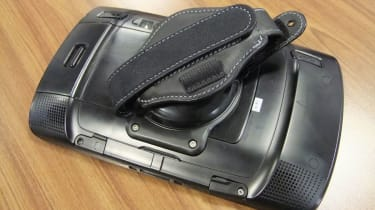 The rear-mounted hand strap.