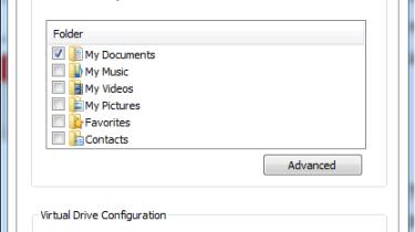 Selecting folders for backup using SafeSync