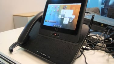 The Cisco Cius docked in its docking station
