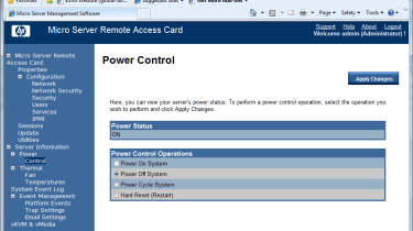 HP's optional RAC allows the server to be remotely managed and provides full access to power controls.