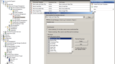 WSS2008 provides plenty of useful storage features itself including file screening, quotas and reporting.