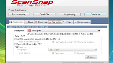File processing options in the ScanSnap S1100 software