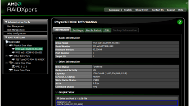 The AMD RAID software can be used to create new arrays and view the status of the hard disks.