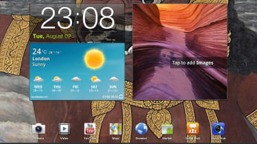 The Android 3.1 Honeycomb interface on the Galaxy Tab 10.1.