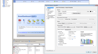 All further management is from the SmartDashboard utility and the software blades can be activated from the appliance's Prope
